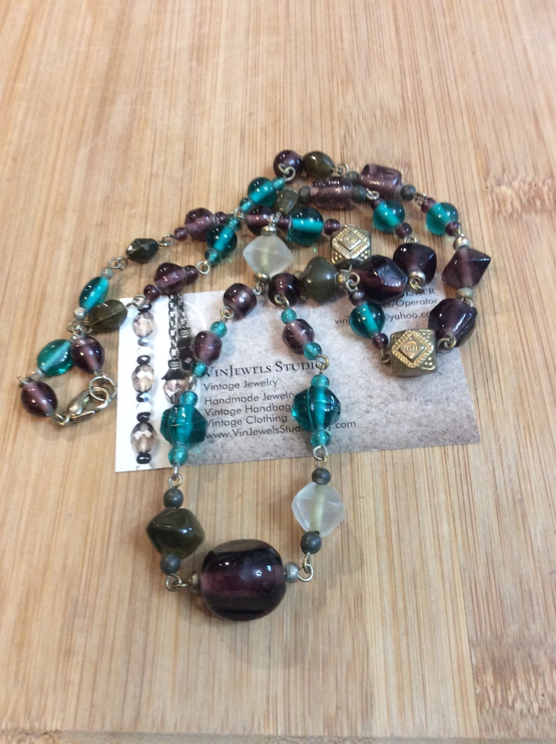 Vintage Purple and Blue Glass Beaded Necklace by VinJewels Studio Located in Abbotsford BC Canada