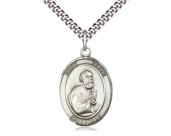 d263cfeeb75 St Peter the Apostle Sterling Silver Pendant on a 24 inch Light Rhodium  Heavy Curb Chain.