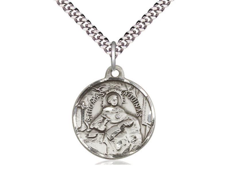 St Thomas Aquinas Sterling Silver Pendant on a 24 inch Light Rhodium Heavy Curb Chain.