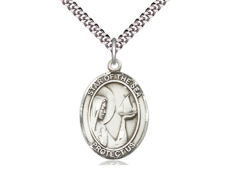 Our Lady Star of the Sea Sterling Silver Pendant on a 24 inch Light Rhodium Heavy Curb Chain.