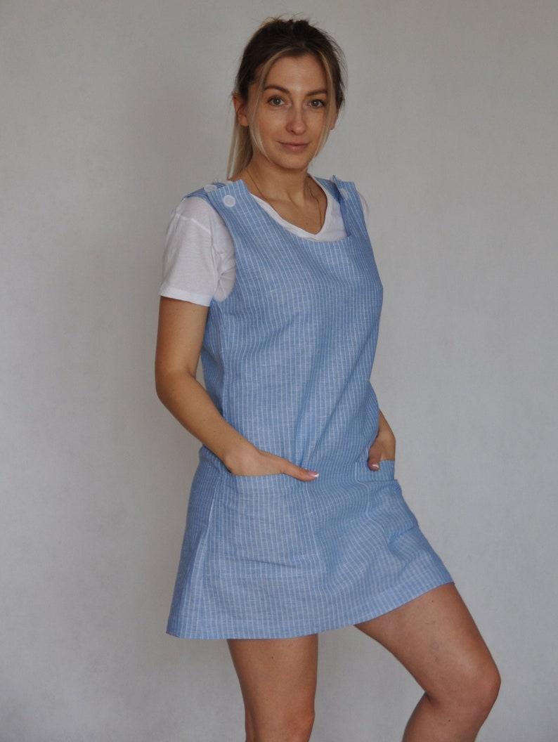 Linen and Cotton striped Sundress Sleeveless Dress Linen Apron Dress For Women. Linen Sundress with patch pockets Linen Pinafore Dress