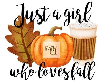 just a girl who loves fall heat transfer vinyl transfer   HTV fall transfers   DIY t-shirts for fall   pumpkin spice leaves