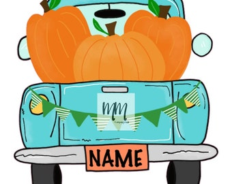 personalized pumpkin truck htv transfer   heat transfer vinyl transfers   fall t-shirt transfer designs   ready to press transfer