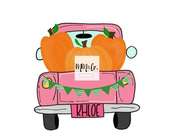 personalized pink pumpkin truck htv transfer   heat transfer vinyl transfers   fall t-shirt transfer designs   ready to press transfer