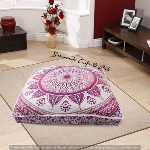 "New 35/""  Mandala Floor Cushion Cover Round Pillow Bohemian Indian Case Pillows"
