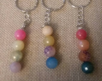 Set of 3 handmade agate keychains!