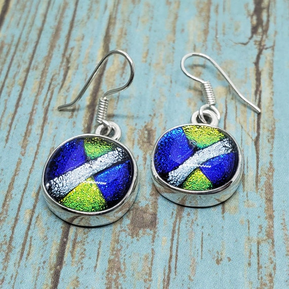 s Earrings Fused Dichroic Art Glass Jewelry Pink Blue Green Dangle Sterling Silver FREE shipping