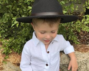 1c51205d Childrens / kids felt style fedora wide brim hat