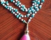 Mala.handmade. gemstones with a pink tassel. Howlite turquoise, rose quartz, amozonite gemstones