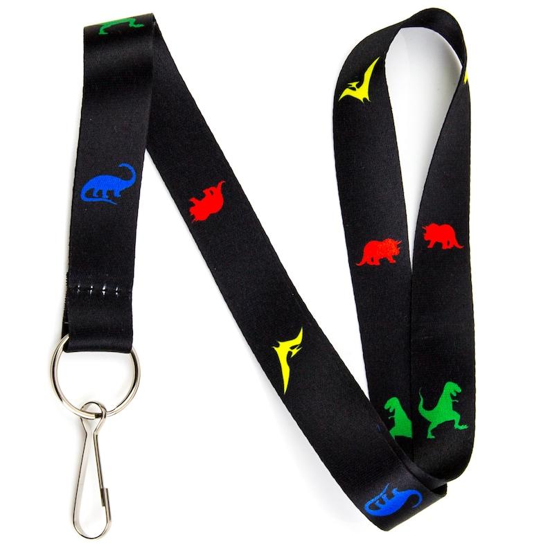 Dinosaur Lanyard Keychain and ID Badge Holder \u2013 Durable Black Polyester \u2013 Novelty Necklace