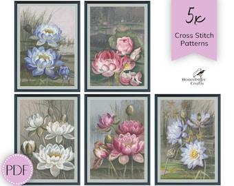 Set of 5 Ellis Rowan Water Lily cross stitch patterns PDF, Floral embroidery designs digital download