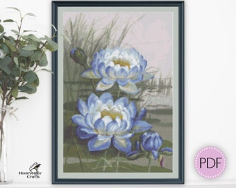 Blue Cloud Water Lily cross stitch pattern PDF, Australian and New Guinea native plant, Historical painting, Embroidery gifts