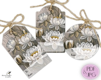 Floral printable gift tags, White Water Lily flowers, Themed present labels set, gift wrapping cut outs, digital download