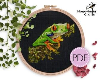 Tree frog cross stitch pattern, Modern cross stitch frogs Animal cross stitch Reptile cross stitch Frog lover gifts Nature cross stitch 1