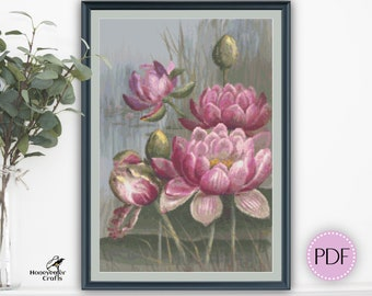 Pink Water Lily cross stitch pattern PDF, Australian native floral embroidery design digital download