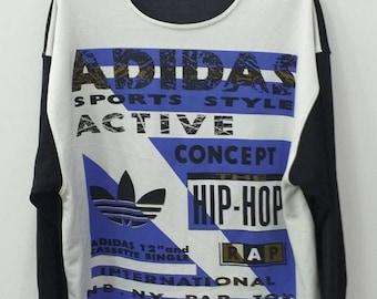 bf322ac40 RUN DMC ADIDAS Vintage 80s Hip Hop Sweatshirt. Free size