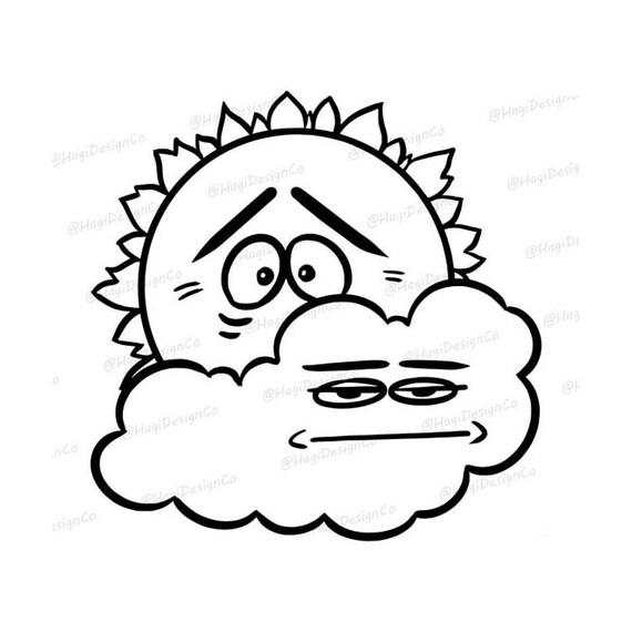 Sun Cloud Outline Weather Clipart Png Files Digital Etsy
