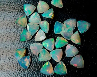 FOR ONE Welo opal calibrated size Opal Cabochon Trillion AAA quality Multi Fire Opal Loose Gemstone 6mm Ethiopian Opal Trillion Cabochon