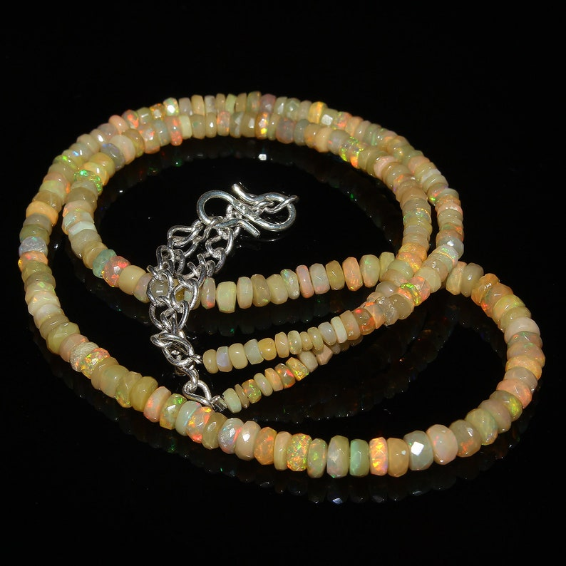 Ethiopian Opal Beads Rainbow Fire Opal Natural Ethiopian Welo Fire Faceted Opal Beads Necklace Faceted Beads Necklace 40 Carat 16