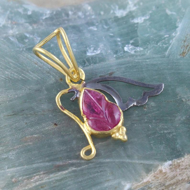 Butterfly Pendant Natural Tourmaline Pendant Tourmaline Jewelry Natural Gemstone Pendant Christmas Gift Silver Pendant Pendant
