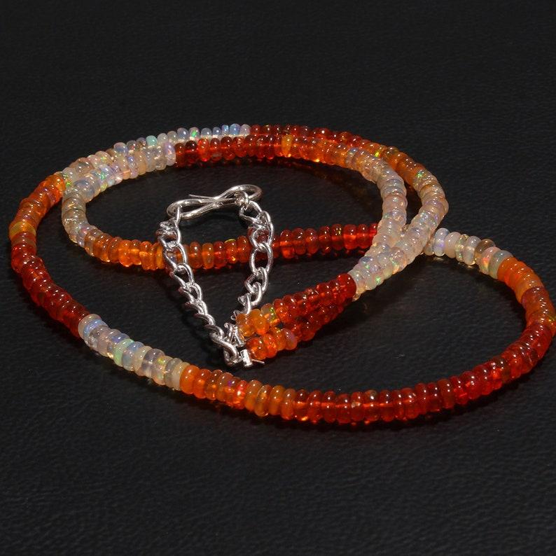 Multi Color Opal Necklace 40 Carat 17 Opal Beads Necklace Natural Ethiopian Fire Opal Beads Necklace Handmade Opal  Necklace