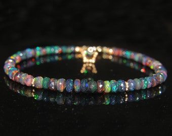 Natural Ethiopian Black Faceted Opal Bracelet - Faceted Opal Bracelet - Black Opal Bracelet - Faceted Opal Jewelry - Opal Beads Bracelet