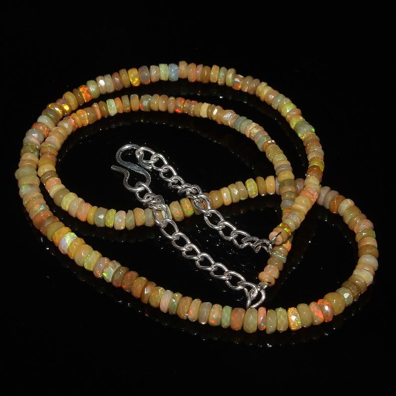 Faceted Beads Necklace Natural Ethiopian Welo Fire Faceted Opal Beads Necklace Ethiopian Opal Beads Rainbow Fire Opal 40 Carat 16