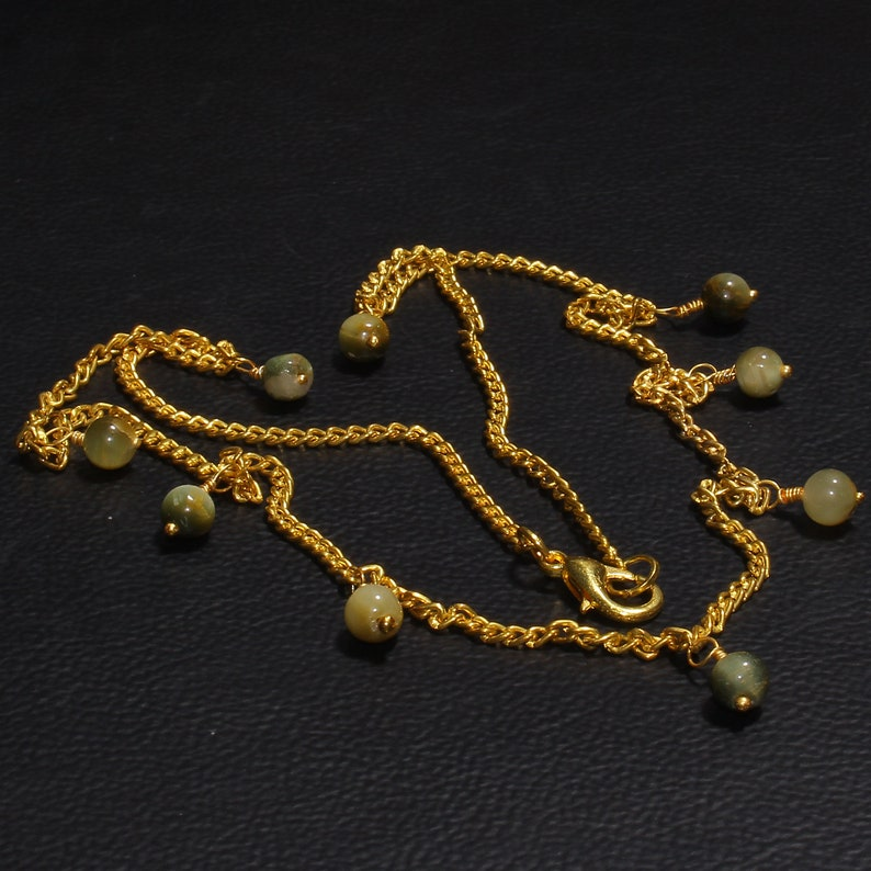 Natural Balls Necklace 925 Silver Necklace 14k Gold Filled Smooth Cat/'s Eye Smooth Balls Necklace Natural Cat/'s Eye Necklace