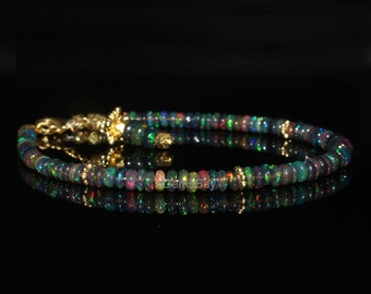 Natural Ethiopian Black Smooth Opal Bracelet - Smooth Opal Bracelet - Black Opal Bracelet - Smooth Opal Jewelry - Opal Beads Bracelet - Opal