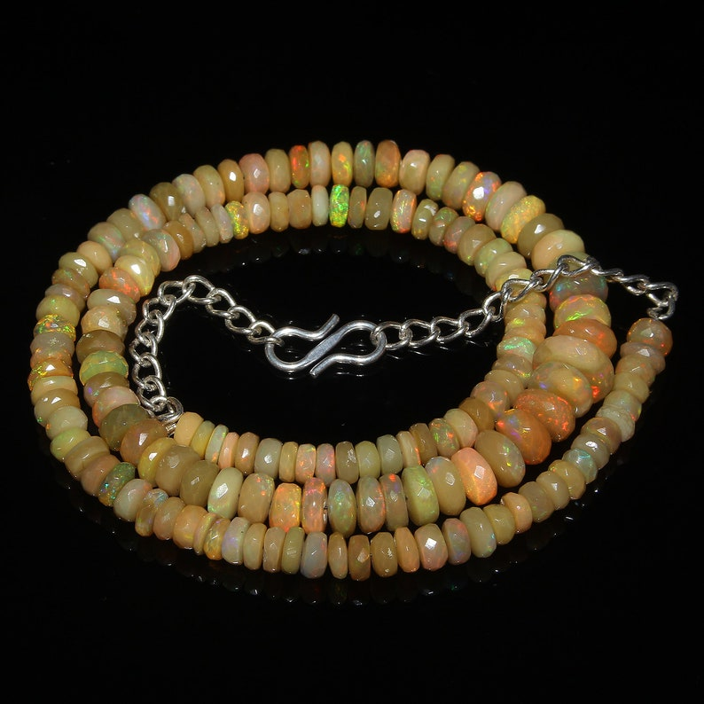 Natural Ethiopian Welo Fire Faceted Opal Beads Necklace Ethiopian Opal Beads Faceted Beads Necklace Rainbow Fire Opal 81 Carat 16