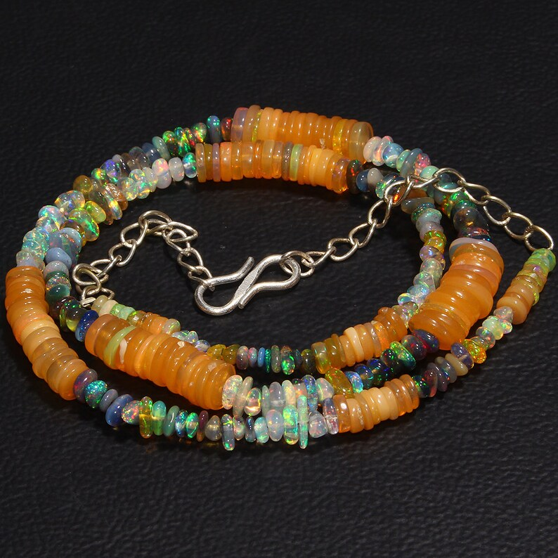 53 Carat 16 Handmade Opal  Necklace Tumble Opal Necklace Multi Color Necklace Natural Ethiopian Fire Opal Coins Necklace
