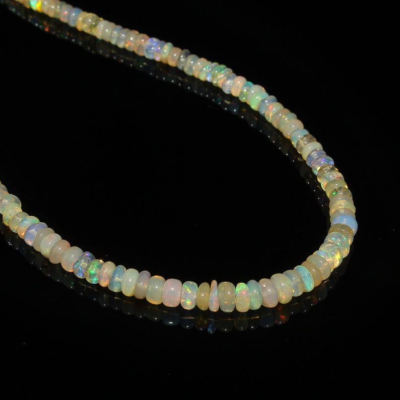 Ethiopian Opal Beads Rainbow Fire Opal Smooth Beads Necklace Natural Ethiopian Welo Fire Smooth Opal Beads Necklace 40 Carat 18