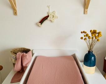 "Cotton gauze changing mattress cover ""powder pink"""
