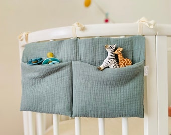 """Baby bed pouch, nipple/soft double gauze """"celadon blue"""""""