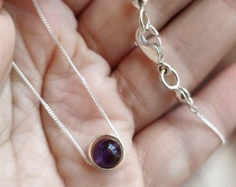 Purple amethyst sterling silver halo necklace, Violet stone choker necklace, Dainty 6mm gemstone necklace with extender, Women jewelry gift