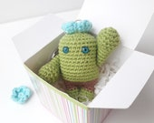 Cactus keychain funny gift for friends, Amigurumi flower cute car accessories, crochet succulent for kids, stepdad gift, stocking stuffers