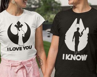 I love you I know star wars shirts, Star wars shirt, Disney shirts, Matching couple star wars, Mr and Mrs shirts, Han solo, Princess Leia