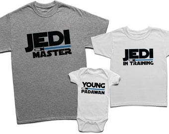 6b93d7985 Daddy son jedi master shirts, Dad son Jedi master and Jedi in training,  Jedi master shirt, Jedi in training, Matching father son shirts