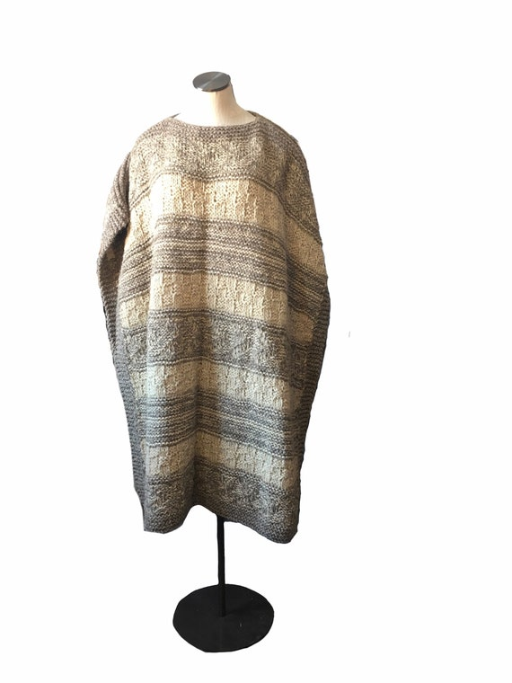 Hand knit vintage 70s Poncho