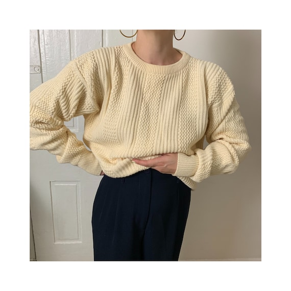 Vintage Ivory Textured Knit Sweater