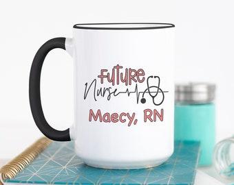 d024442cc Personalized Nursing Student Coffee Mug - Custom Future Nurse - Nursing  School Cup - Personalized Nurse School Gift - Nursing Student Gift