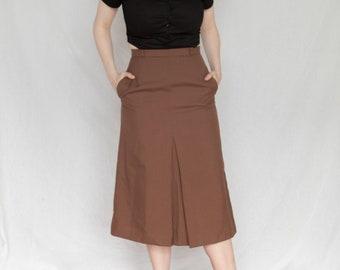 e5cfa1803f3e79 1980s midi skirt, vintage brown skirt, 80s skirt, 80s mid length skirt,  brown vintage skirt, vintage skirt with pockets, Eaton skirt,