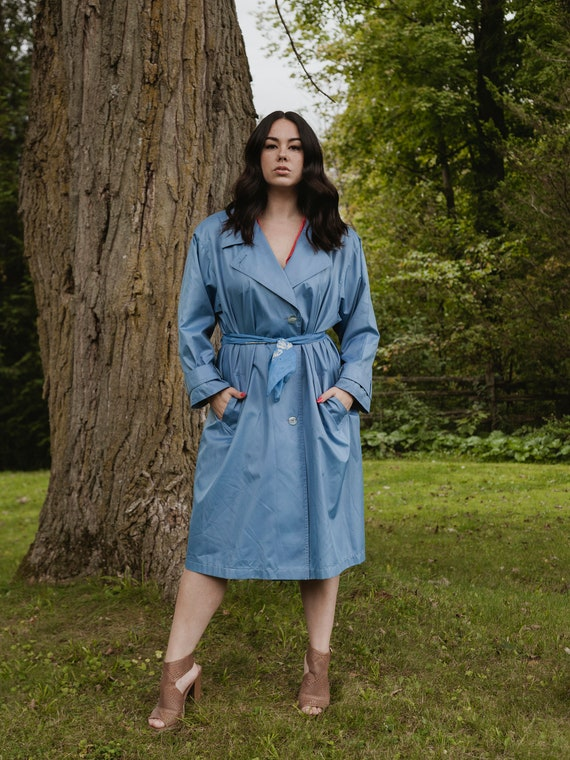 Vintage blue trench coat, blue trench coat,  large