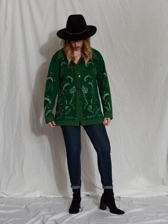 1970s green button up shirt, 1970s floral shirt, … - image 5