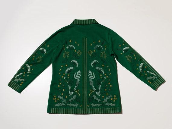 1970s green button up shirt, 1970s floral shirt, … - image 3