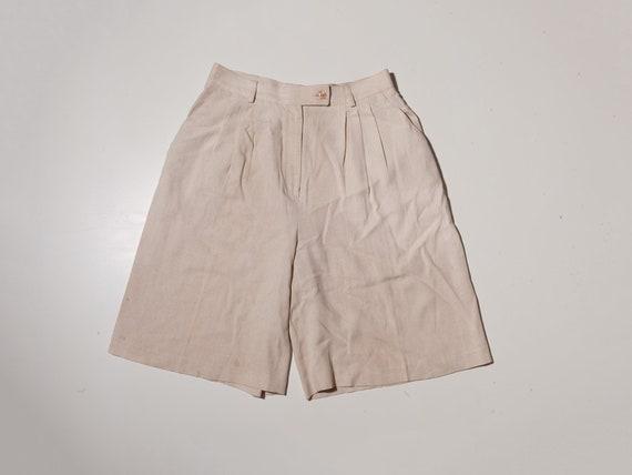 vintage cream bermuda shorts, vintage white linen