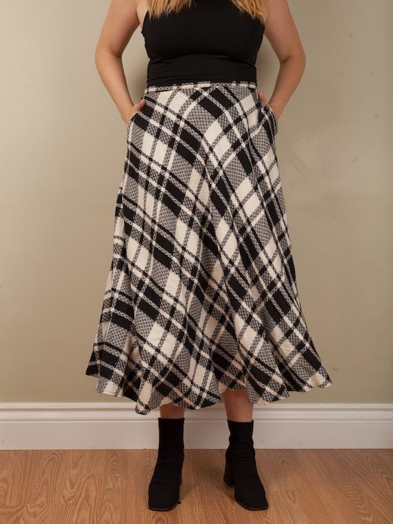 1990s full black and white plaid long skirt, vint… - image 3