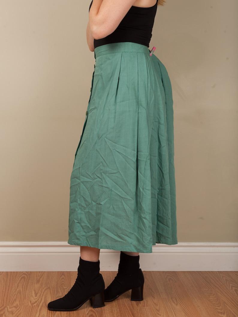 90s linen blend button pleated skirt vintage sea foam green long button front skirt st Michaels size 14 mid calf solid colour circle skirt