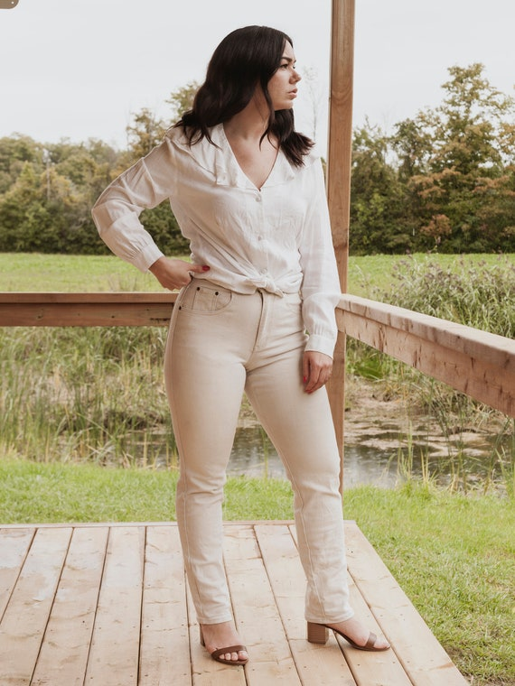 90s high rise cream jeans, vintage high waist crea