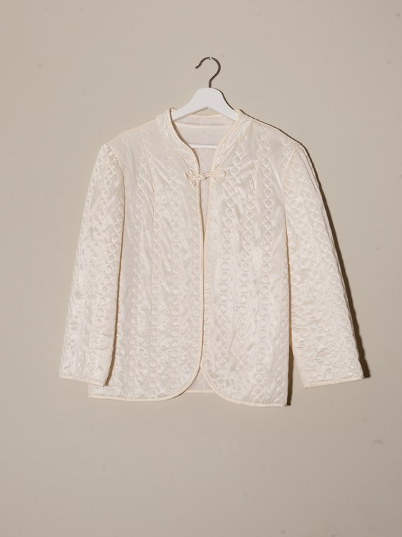 vintage quilted robe, 1980s cream robe, vintage cr